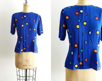 Vintage 1980s 1990s Blue Polka Dot Blouse Polka Dot Peplum Blouse Polka Dot Shirt Primary Colors Rainbow Polka Dot Shirt Small Medium Large
