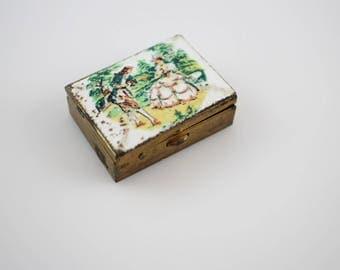 Vintage Guilloché Enamel Pill Box - Brass Enamel Pocket Pill Box