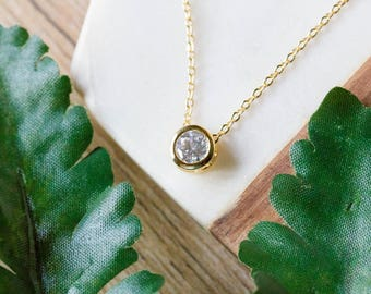 Bezel set CZ stone delicate necklace | Gold plated layering necklace | Gifts for her under 20 | Rhinestone pendant charm necklace |