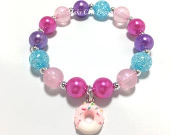 Toddler or Girls Small Beaded Donut Charm Bracelet - Pink, blue and Purple Bracelet - Pink Donut Bracelet - Girl Donut Birthday - Doughnut