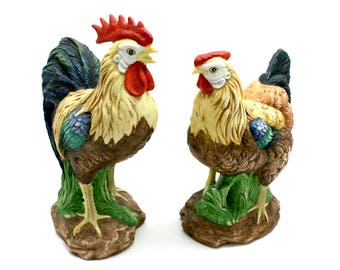 Vintage Lefton hen and rooster, chickens, farmhouse style, kitchen decor, painted China figurines, green, blue, red, brown, made in Taiwan