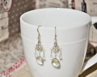 Crystal Chandelier Earrings, SWAROVSKI Crystal Sterling Silver Earrings, Silver Shade Crystal Earrings