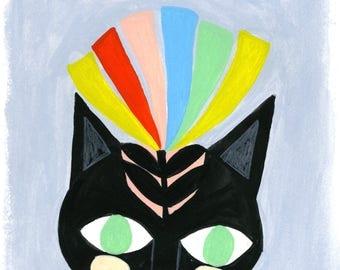 Cat Art Print, Colorful Nursery Art, Cat Nursery Decor, Cat Painting, Playroom Art, Children's Room Art Prints, Animal Wall Art for kids