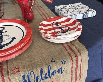 "Embroidered table runner, burlap-look, 72"", summer, party, custom, personalized, red and blue, country, usa"