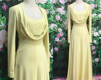 70s Jack Bryan Yellow Rhinestone Beaded Evening Gown