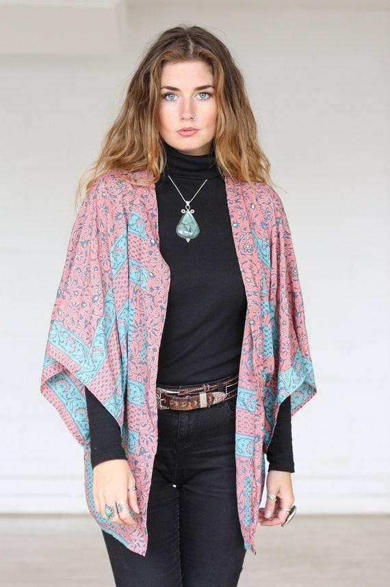 BOHO CROP KIMONO - Silk Cardigan - Cover Up - Bohemian Kimono - Christmas - Party Outfit - Kaftan - Bespoke - Handmade- Gypsy- Fall - Silk
