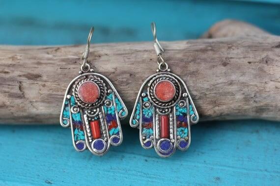 VINTAGE HAMSA EARRINGS - Moroccan earrings - Hand of fathima - Turquoise - Coral - Mosaic - Handmade - Gemstone - Crystals - Bespoke - Gift