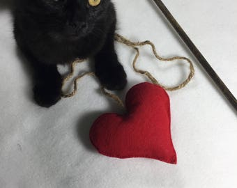 Rustic Heart Cat Teaser Wand Toy Rattle