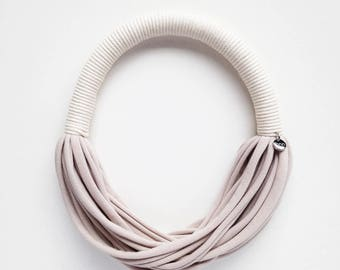 Choker, rope necklace, tribal necklace, ivory necklace, fun necklace - the funky rope necklace - handmade with jersey fabric and cotton rope