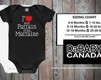 J'aime mon Parrain et ma Marraine Bodysuit - Godparents français Design - T-shirt Marraine et Parrain - Cadeau de bébé - Parrains français