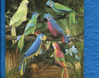 Simplicity 3691 Parrots Macaws Stuffed Animals Sewing Patterns UNCUT