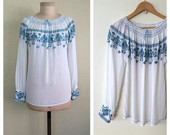 Romanian Blouse | 1920s embroidered blouse | vintage 20s peasant shirt | s - m