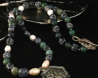 Hand beaded necklace, tree necklace, inspiration jewelry, gemstone necklace, green necklace, BOHO necklace, hippie necklace, nature necklace