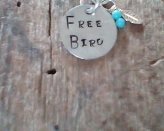 Free Bird hand stamped necklace