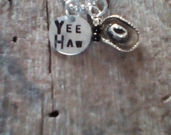 YEE HAW hand stamped necklace