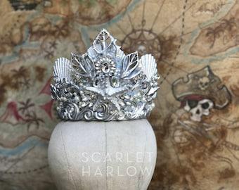 Mermaid Crown - Shell Crown - Festival Crown - Silver Crown - Bridal Crown - Bridal Headpiece - Mermaid Costume. READY TO SHIP