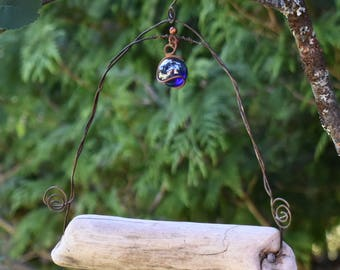Blue Marble and Driftwood Bird Swing