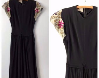 Vintage 1930s 1940s black crepe dress with beaded sleeves, Carlye dress, size xs