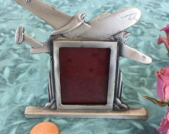 Vintage Pewter Airplane Picture Frame on Stand. Pewter Picture Frame With Twin Engine Airplane.