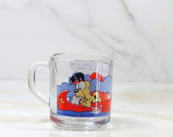 Vintage Garfield, McDonalds, Cup, 1980, Odie, Canoeing, River, Water, Children's Cartoon, Comedy, Happy Meal Toy, Vintage McDonalds