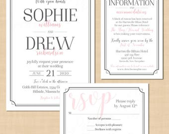 Art Deco Wedding Invitation RSVP, Information Insert Bundle, Pewter Grey 1920's Border: Text-Editable in Word®, Printable Instant Download
