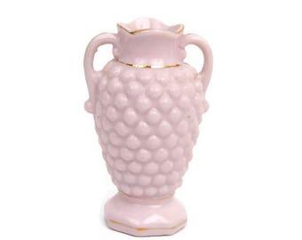Vintage Pink Hobnail Ewer Miniature Vase Footed Urn Double Handles Gold Trim Made in Japan