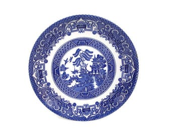 Vintage Stoke on Trent Old Willow Saucer Staffordshire England English Ironstone Pottery Blue Willow Design Table Ware