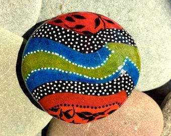 koi pond / painted rocks/ painted stones / rock art / boho art/ hippie art / tiny art / hand painted rocks / desk art / coffee table art