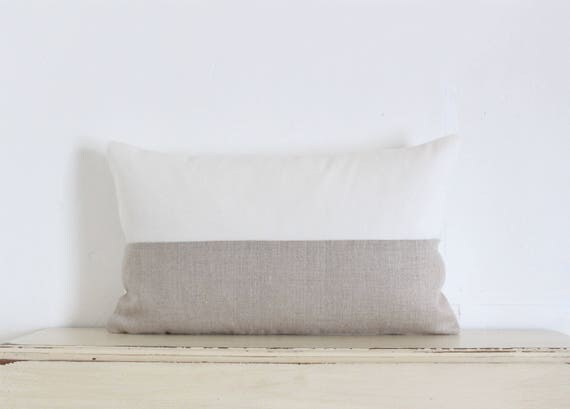 "White and natural linen colour block pillow cushion cover 12"" x 20"""