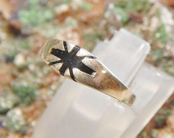 Taxco Sterling Silver Black Enamel Gothic Ring