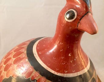 Large Vintage Mexican Folk Pottery Quail
