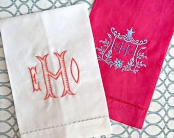Monogrammed Hand Towels - Linen Hemstitched