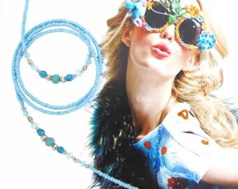 EYEWEAR HOLDER, turquoise blue jade silver, beaded glasses holder, eyewear chain, sunglasses chain, beaded eyewear chain, glasses chain