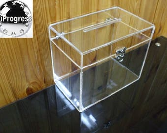 Slotted Clear Acrylic Box with Hinged Lid for Cards or Money