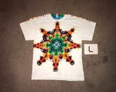Tie Dye T-Shirt ~ Fire Mandala With White Background ~ i_7300 in Adult Large