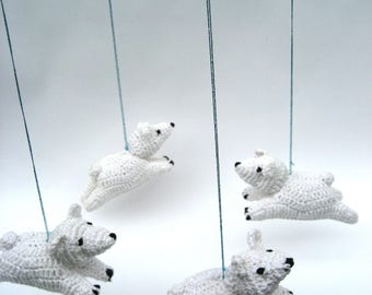 ready to ship mobile  White bear mobile. Baby newborn gift , nursery decor, baby mobile