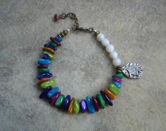 Asymmetrical Multi-Colored Mother of Pearl Boho Bracelet with Turtle Charm, Gemstone Bracelet, Beach Jewelry, OOAK Jewelry, Gypsy Jewelry