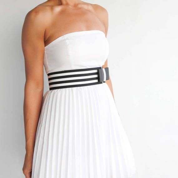 Black and white striped flat waist belt -modern and minimalist women's bow belt