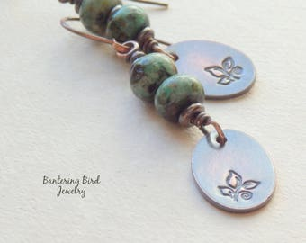 Green African Turquoise Stack Earrings, Rustic Patina Copper Dangle with Leaf Design, Earthy Natural Stone Linear Earrings, Boho Jewelry