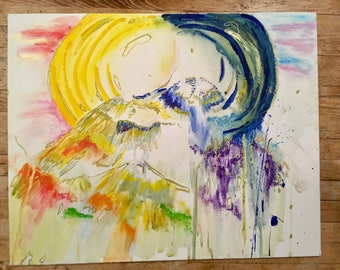 Sun and Moon Mountain Painting | 16 x 20