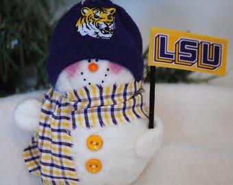 LSU Tigers Snowman Ornament