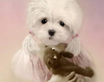 Jody, Vintage Dog Print, Maltese Dog, Anthropomorphic , Nursery Decor, Altered Photo, Whimsical Art, Cute Wall Decor, Dog Note Cards
