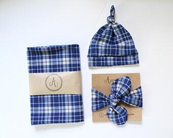 Vintage Blue Plaid Swaddle Set, Baby Boy Blanket, Baby Shower Gift, Plaid Blanket, Knot Hat, Knot Headband, Boy Swaddle Set, Christmas Gift