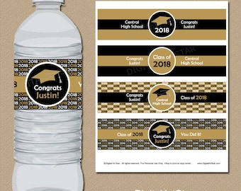 High School Graduation Party Decorations, Printable Graduation Water Bottle Labels, Personalized Graduation Party Supplies Black and Gold G1