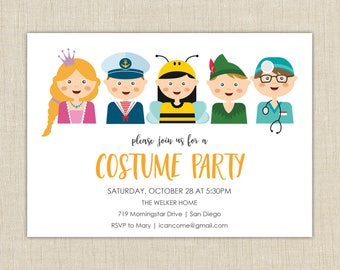 Printable Halloween Invitation, Halloween party invitation, Halloween costume party invitation