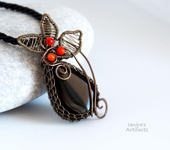 Clothing Black agate wire wrapped pendant gemstone necklace Nature inspired jewelry Leafy Anniversary gift for her Mother Christmas gifts