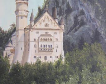 Bania-Staszak Neuschwanstein Castle Oil Painting Ludwig Bavaria Germany 24 x 18 Canvas  Vintage