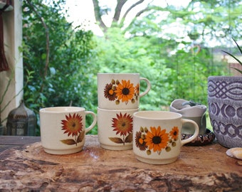 Vintage Botanical Mugs, Wildflower tea cugs, Earthy Bohemian home
