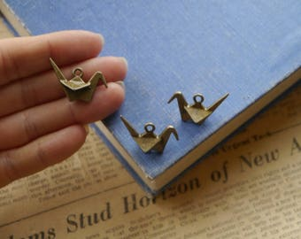 6pcs Bronze Origami Crane Charms 3D 28mm (BC2956)