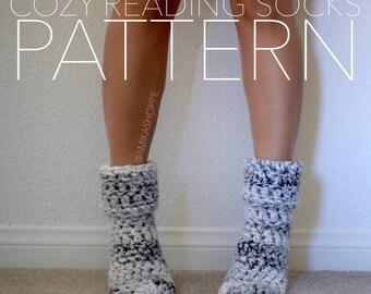 PDF - PATTERN ONLY -- Cozy Reading Socks - crocheted sock pattern